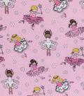 Novelty Cotton Fabric 44\u0022-Dancers Pink Glitter