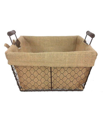 Organizing Essentials™ 12x12 Wire Basket with Burlap Liner