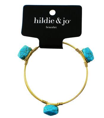 hildie & jo 7'' Gold Bangle Bracelet-Turquoise Stones