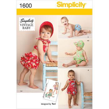Simplicity Pattern 1600A Infants' Romper Set-Size XXS-L
