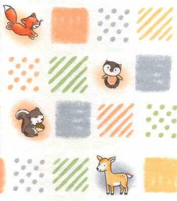 """Nursery Flannel Fabric 42""""-Woodland Patchwork"""