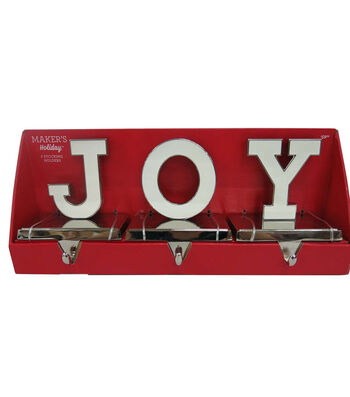 Maker's Holiday Christmas 3 pk Stocking Holders-Joy