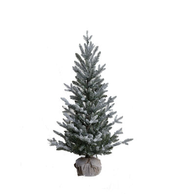 Maker's Holiday Christmas 4' Pre-Lit Flocked PVC Pine Tree