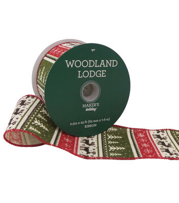 Maker's Holiday Woodland Lodge Ribbon 2.5''x25'-Red/Green & Beige Nordic