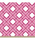 Anti-Pill Fleece Fabric Diamond Geo Pink