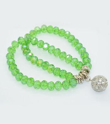 Crystal Two Line Drop Bracelet-Green Shine