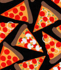 Snuggle Flannel Fabric 42\u0022-Pizza Party Black