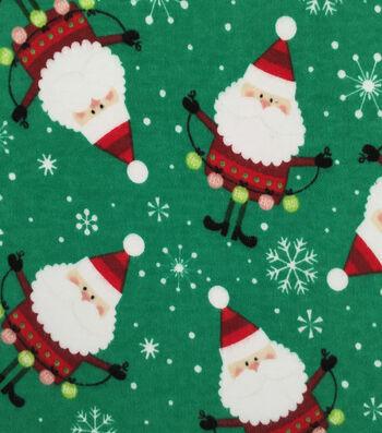 "Doodles Christmas Interlock Cotton Fabric 57""-Santa"