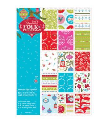 Papermania Folk Christmas 11.63''x8.25'' Paper Pack