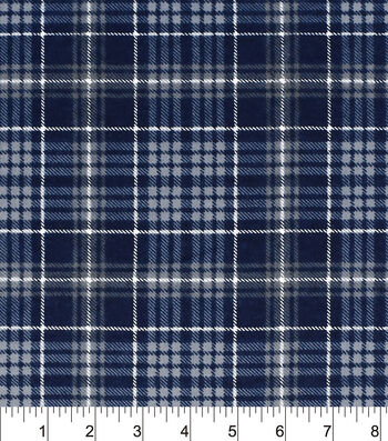 "Snuggle Flannel Fabric 42""-Navy Grey Plaid"