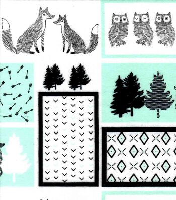 Nursery Flannel Fabric 42''-Mint, Black & White Woodland Patch