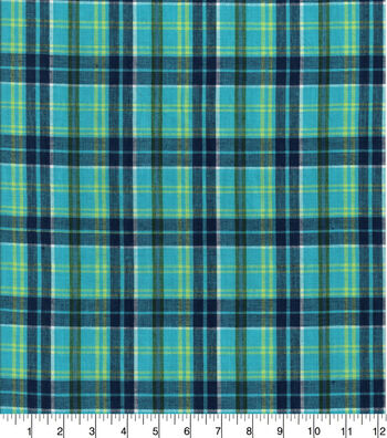 Doodles Woven Cotton Juvenile Apparel Fabric 44''-Teal Plaid