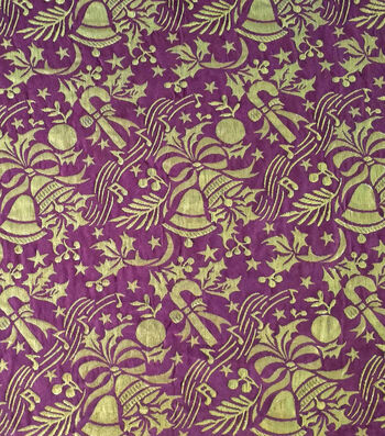 "Sew Sweet Festive Jacquard Decorating Fabric 57""-Tawny Port & Gold"