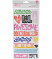 "Amy Tan On A Whim Thickers Stickers 5.5""X11""-LOL Phrase/Chipboard, , hi-res"