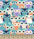 Snuggle Flannel Fabric 42\u0027\u0027-Whoo Goes There on Multi
