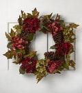 Blooming Autumn 28\u0027\u0027 Hydrangea, Berry & Pinecone Wreath-Burgundy & Green