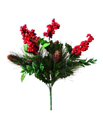 Blooming Holiday Christmas 19'' Pine, Pinecone & Berry Spray-Red