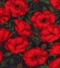 Anti-Pill Fleece Fabric 59\u0022-Red Poppies Distressed Black