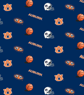 "Auburn University Tigers Cotton Fabric 44""-Blue All Over"