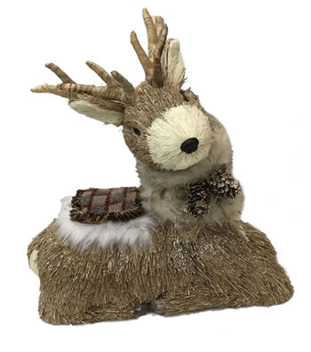 Blooming Holiday Christmas Sitting Deer with Plaid Fur Coat-Natural