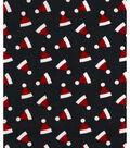 Holiday Showcase™ Christmas Cotton Fabric 43\u0022-Ditsy Santa Hats Black