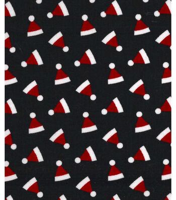 "Holiday Showcase™ Christmas Cotton Fabric 43""-Ditsy Santa Hats Black"