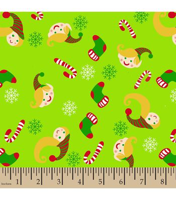Christmas Print Fabric-Elves and Candy