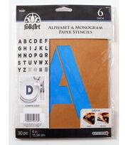 FolkArt® Alphabet & Monogram Paper Stencils - Bold Font, 6 inch, , hi-res