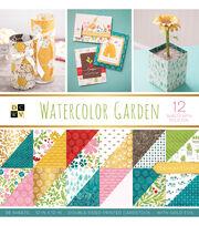 DCWV 36 Pack 12''x12'' Premium Stack Printed Cardstock-Watercolor Garden, , hi-res