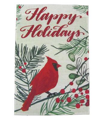 Maker's Holiday Christmas 12''x18'' Flag-Cardinal & Happy Holidays