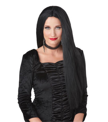 Maker's Halloween Long Morticia Wig-Black