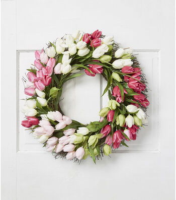 Fresh Picked Spring 22'' Tulip Wreath-Pink, Cream & Green