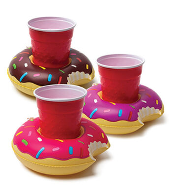 Pack of 3 Inflatable Donut Beverage Float