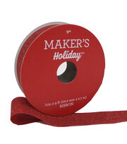 Maker's Holiday Christmas Sparkle Fabric Ribbon 7/8''x9'-Red, , hi-res