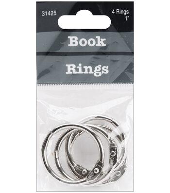 "Baumgartens 1"" Book Rings 4pk-Silver"