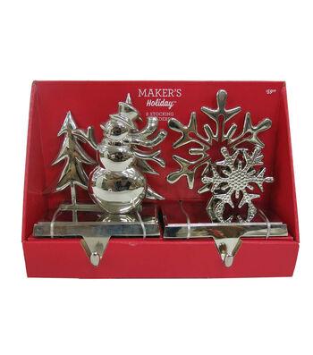 Maker's Holiday Christmas Snowman & Snowflake Stocking Holders