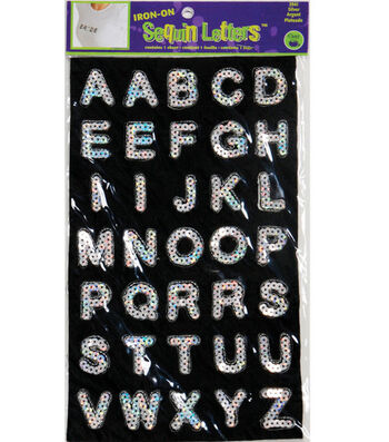 Dritz Iron-On Sequin Letters Block Silver