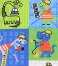 Anti-Pill Fleece Fabric 61\u0022-Construction Dinosaur Patch