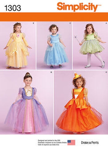 Simplicity Pattern 1303-Toddlers' and Child's Costumes