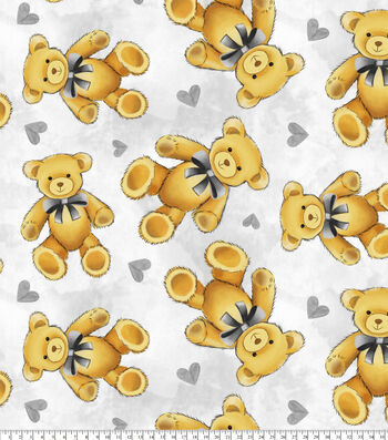 Nursery Fleece Fabric-Teddy Bear Grey