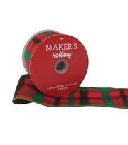 Maker's Holiday Christmas Ribbon 2.5''x25'-Red, Green & Black Check, , hi-res