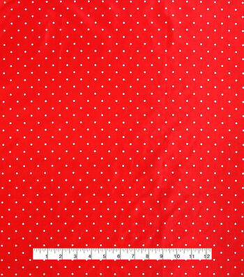 "Anti-Static Lining Fabric 58""-White on Red Dots"