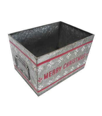 Maker's Holiday Small Galvanized Metal Container-Merry Christmas