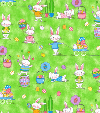 Easter Cotton Glitter Fabric 44''-Fun Bunnies