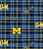 "University of Michigan Wolverines Cotton Fabric 43""-Plaid, , hi-res"