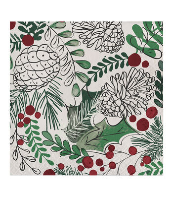 Maker's Holiday Christmas 20 pk Beverage Napkins-Winter Wreath