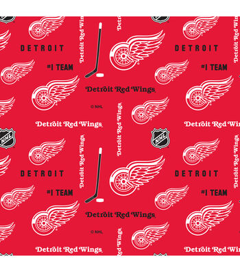 "Detriot Red Wings Cotton Fabric 43""-Logo"