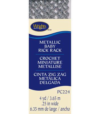 "Wrights Baby Metallic Rick Rack-1/4""W x 4yds Silver"
