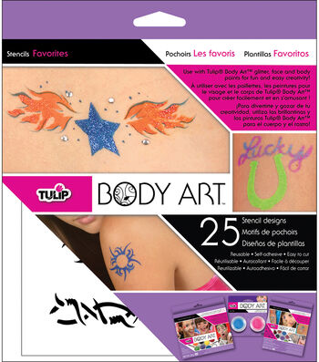 Tulip Body Art Stencil Designs-Favorites 25/Pkg