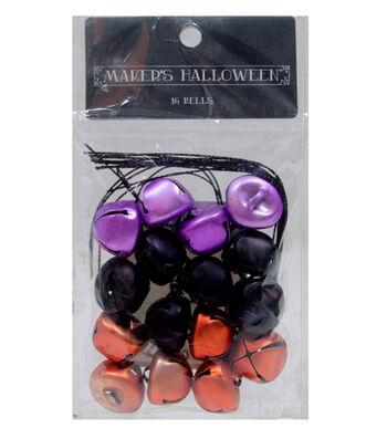 Maker's Halloween 16 Pack Mini Jingle Bells-Purple, Orange & Black
